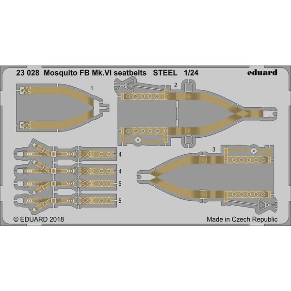 de Havilland Mosquito FB Mk.VI seatbelts STEEL 1/24 (designed to be used with Airfix kits)