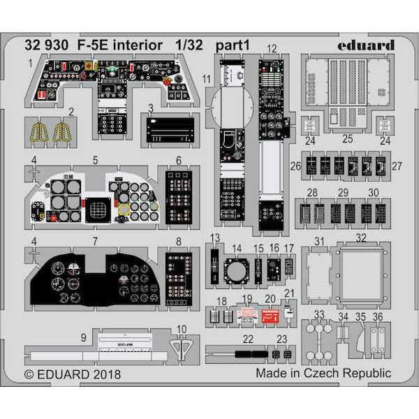 Northrop F-5E Tiger interior (designed to be used with Kitty Hawk Model kits)