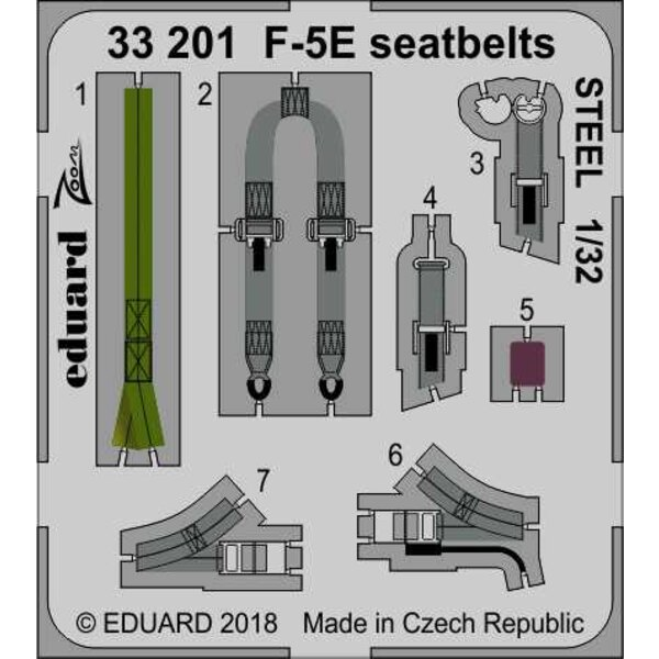 Northrop F-5E Tiger seatbelts STEEL (designed to be used with Kitty Hawk Model kits)