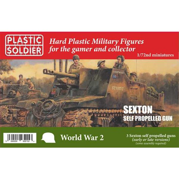 20mm Sexton self propelled gun 3 Sexton Mk.2 models on the box. Each sprue contains options to be build early or late varia