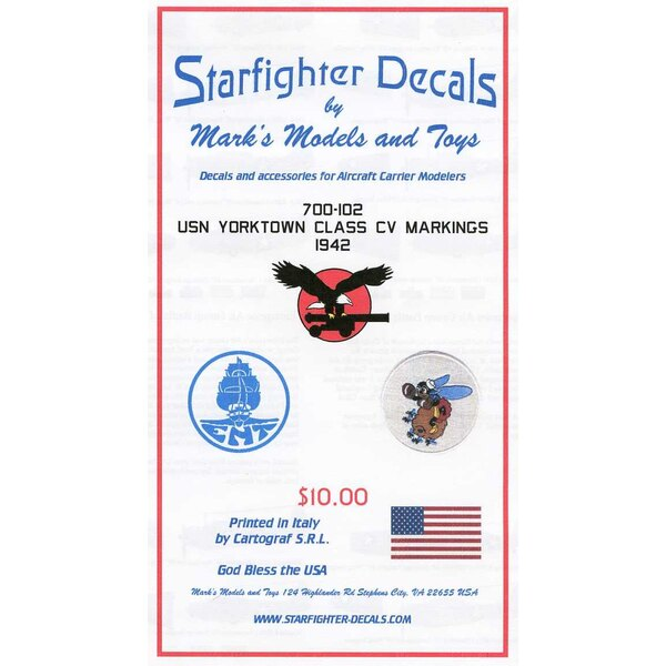U.S.S Yorktown Class USN Aircraft Carrier Markings plus Air Groups. Can be used on any 1/700 Yorktown class kit (Tamiya & Tr