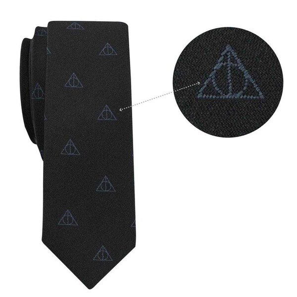 Harry Potter set cravate & badge Deatlhy Hallows