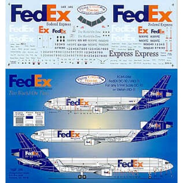 McDonnell Douglas DC-10 /MD-11 FED EX inc fleet names and registrations
