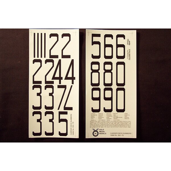 WWII USN Carrier Flight Deck Numbers in Black Two 9 by 4 sheets that contain large black numerals for the flight decks of World