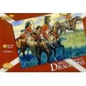 dragons britanniques napoléoniens : 12 figurines montées avec des chapeaux supplémentaires pour les
