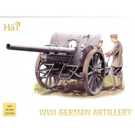 Attelage d'artillerie allemande 1ère GM 4 chevaux. Description : 4 canons 4 attelages et équipage complet. Se compose de Feldkan