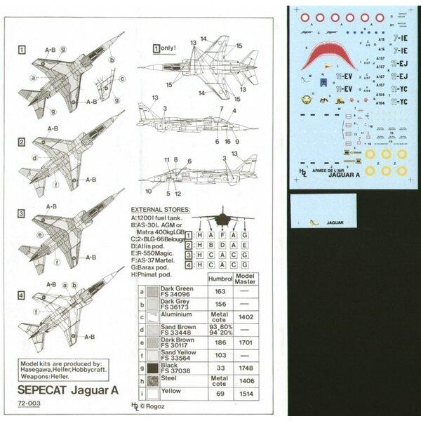 Sepecat Jaguar A (4) EC3/7 7-IE 1986 shark mouth EC1/11 11-EJ Desert Storm EC4/11 11-YC Chad 1984 EC1/11 11-EV 1984 Red Flag