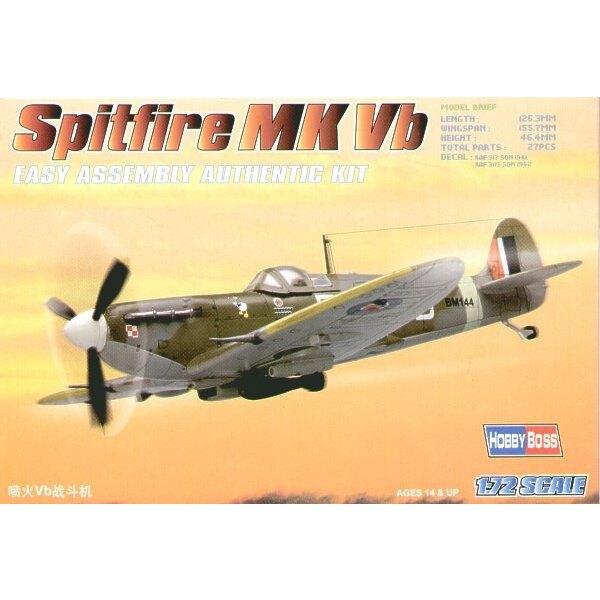 """Supermarine Spitfire Mk.Vb """"Easy Build"""" Avec 1 pièce d'ailes et 1 pièce de fuselage. Les autres pièces sont normales. Options po"""