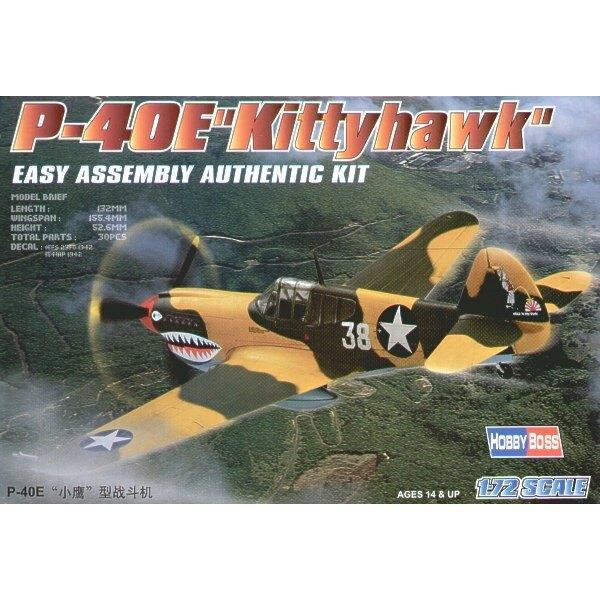 """Curtiss P-40E Kittyhawk """"Easy Build"""" Avec 1 pièce d'ailes et 1 pièce de fuselage. Les autres pièces sont normales. Options pour"""