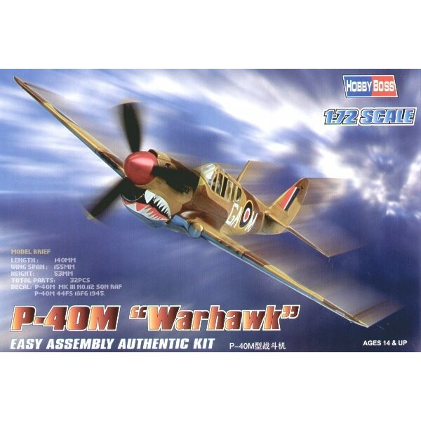 """Curtiss P-40M Kittyhawk """"Easy Build"""" Avec 1 pièce d'ailes et 1 pièce de fuselage. Les autres pièces sont normales. Options pour"""
