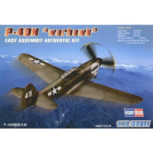 """Curtiss P-40N Warhawk """"Easy Build"""" Avec 1 pièce d'ailes et 1 pièce de fuselage. Les autres pièces sont normales. Options pour av"""