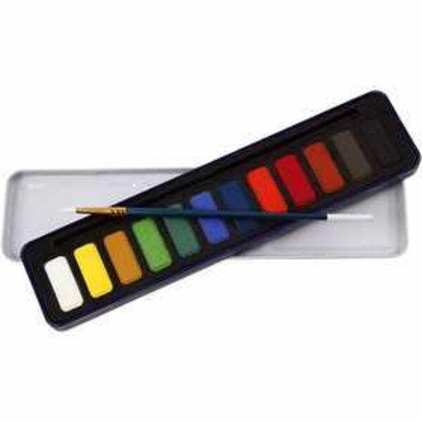 Set de peinture Aquarelle, dim. 12x30 mm, Couleurs assorties, 12couleurs
