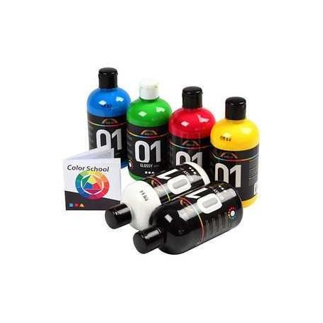 Peinture acrylique A-Color - Couleurs primaires, couleurs primaires, 01 - brillante, 6x500ml A-color CCH-32032