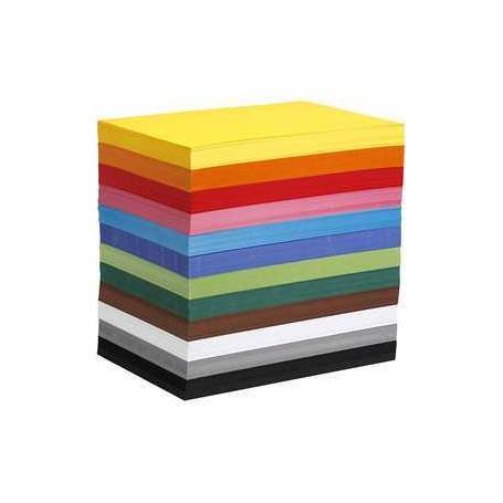 Papier cartonné coloré, A4 210x297 mm, 180 gr, 120flles. ass. Colortime CCH-214270