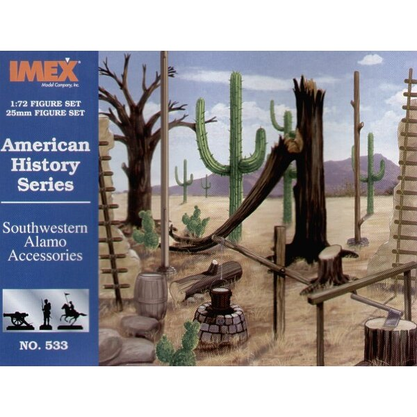 Set d'accessoires pour Alamo. Contient tubes , échelles , porte drapeaus , cactus et arbres morts.