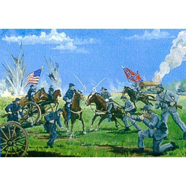 Cavalerie, artillerie et infanterie nordiste/sudiste avec base de diorama