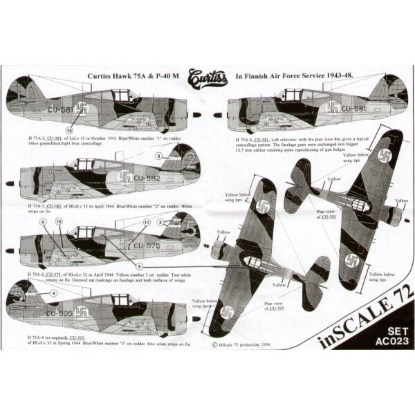 Curtiss Hawk 75A & Curtiss P-40M in Finnish Air Force service 1943-48 10 serials Black/Olive green/light blue grey camouflage