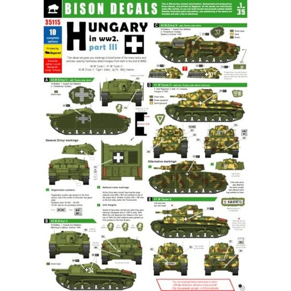Hungary in WWII Pt.3. This decal set gives you markings to build some of the many tanks and vehicles used by Germany′s important