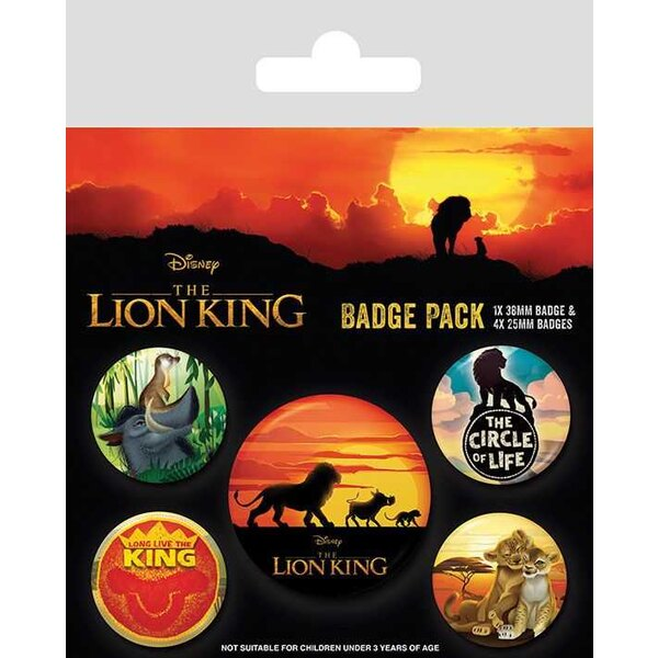Le Roi Lion pack 5 badges Life of a King