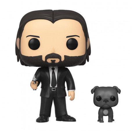 John Wick POP!Films Figurine en vinyle John Wick en costume noir avec chien 9 cm