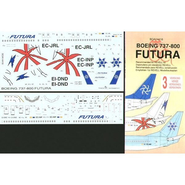 Boeing 737-800 FUTURA Air Lines 3 versions. EI-DND white fuselage blue fin EC-INP Blue fuselage and fin EC-JRL White fuselage wi