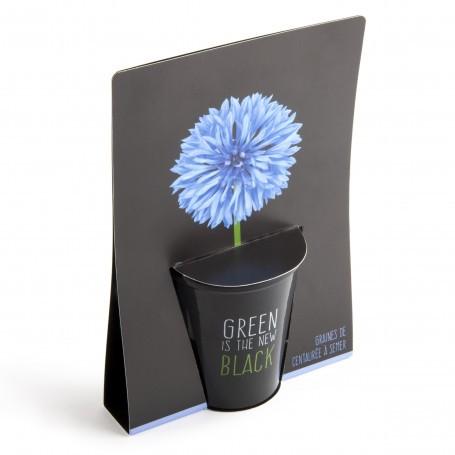 "Pot black ""Green is the new black""- Bleuet Radis et Capucine RAD-34144"