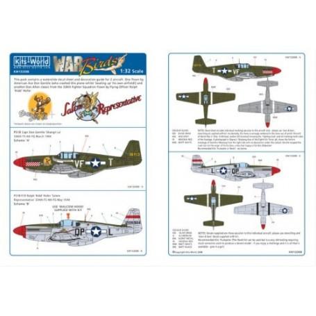 Décal North American P-51B Mustang (2) 36913 VF-T `Shangri La' Capt Don Gentile 336th FS 4th FG. 2106924 QP-L `Salem Representat
