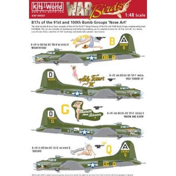 Décal Boeing B-17G Flying Fortress Nose Art of the 91st and 100th BG (4) OR-B 91st BG 'ÄòMount N'ÄôRide'Äô EP-F 100th BG 'ÄòHoly