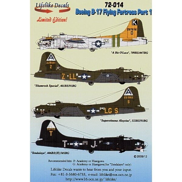 Boeing B-17F/Boeing B-17G Flying Fortress Part 1 8th Air Force