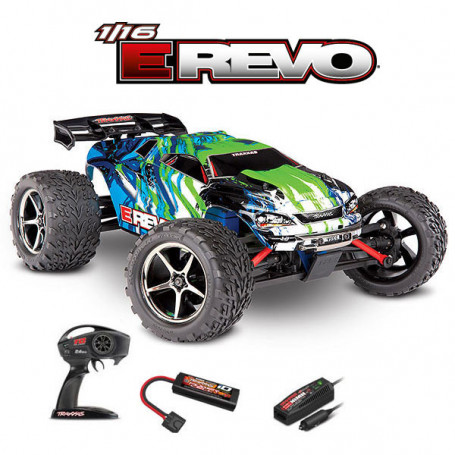 E-REVO 4X4 BRUSHED AVEC ACCUS/CHARGEUR TRAXXAS 71054-1-GRN