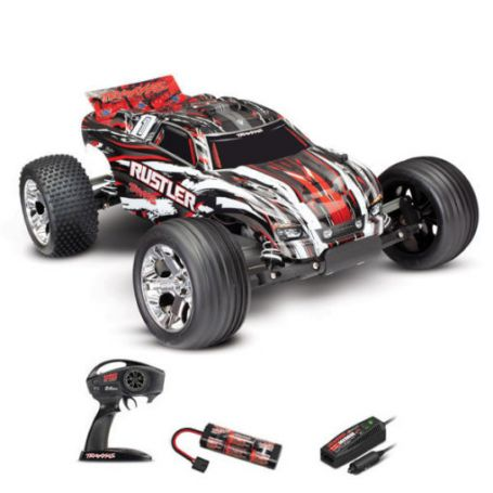 RUSTLER 4X2 BRUSHED AVEC ACCUS/CHARGEUR TRAXXAS 37054-1-REDX