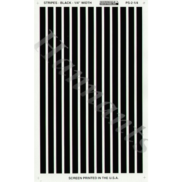 """1/4"""" Rayures parallèles Noires"""