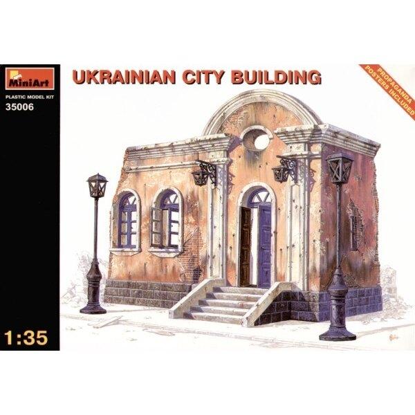 Bâtiment de ville ukrainien en ruine