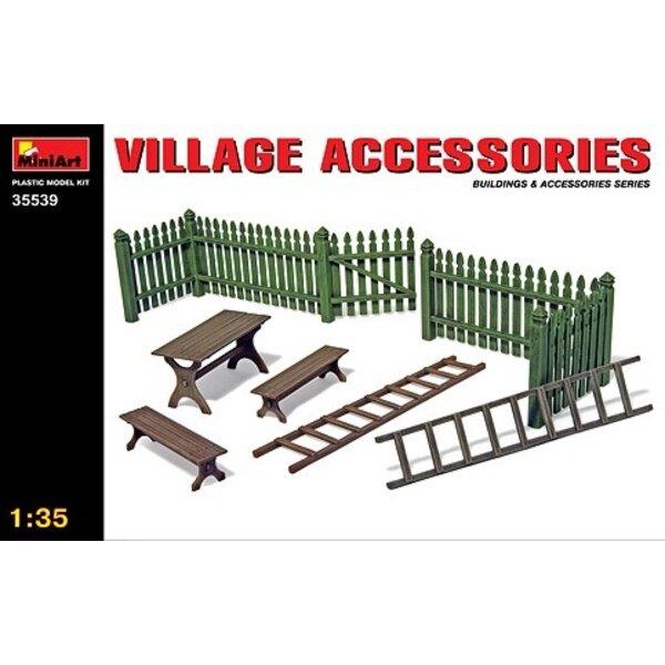 Accessoires du Village. Bancs , porte et échelles