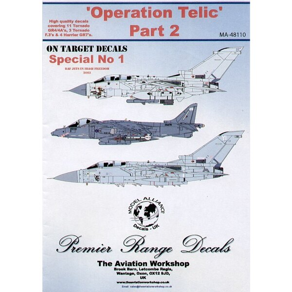 Décal Operation Telic Part 2. Panavia Tornado GR.4/4a (11) ZA607 'Delightful Debbie' ZD850 'Rects Controllers Dream' ZD740 'Dese