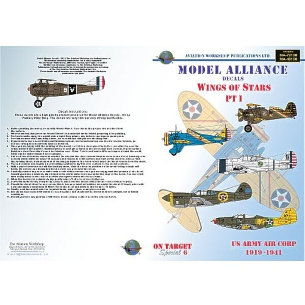 Décal Wings Of Stars Pt 1 (6) Boeing P-26A/C Peashooter 18th PG Hawaii 1939 blue fuselage Boeing P-21E 19th PS Hawaii 1933 OD fu