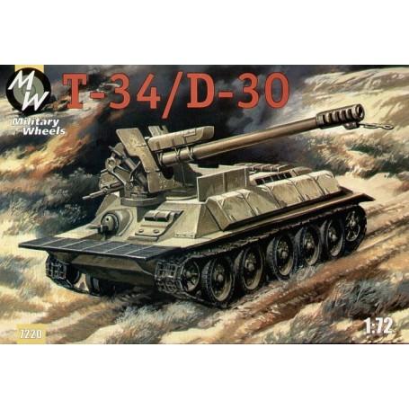 T-34/D30. Pendant la guerre israélo-arabe l'armée syrienne a rééquipé un peu ses T34/85 dans canon automoteurs utilisant l'obusi