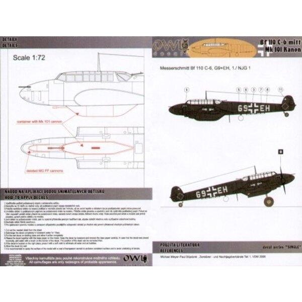 Décal Messerschmitt Bf 110C-6 G9+EH 1/NJG 1