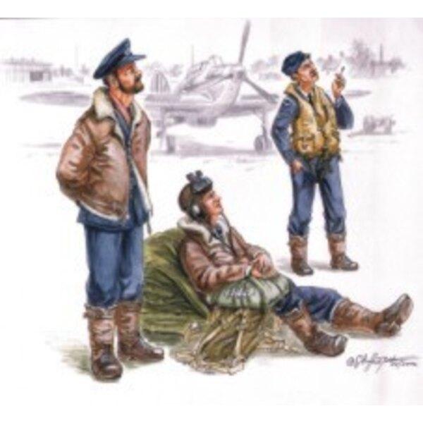 Pilotes de la RAF avant le vol x 3