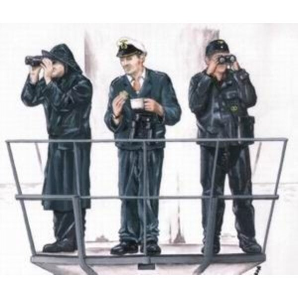 3 x crew figures for U-Boat Type VIIc (designed to be assembled with model kits from Revell)