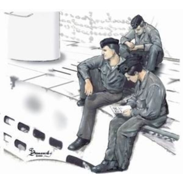 3 x crew figures at rest set 1 for U-Boat Type VIIc (designed to be assembled with model kits from Revell)