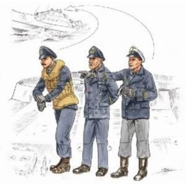 S-100 Schnellboot Bridge Crew figures x 3 (designed to be assembled with model kits from Revell)