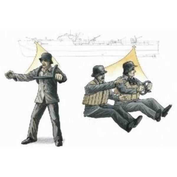 S-100 Schnellboot : figurines d'servants de canon antiaérien de 3.7 cm x 3 (pour maquettes Revell)