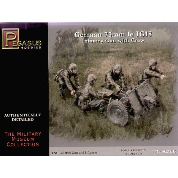 Canon d'infanterie IG18 allemand de 75 mm et servants