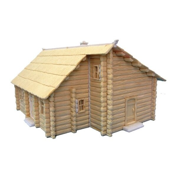 Maison de rondin à deux étages avec toit de chaume. Prépeint.