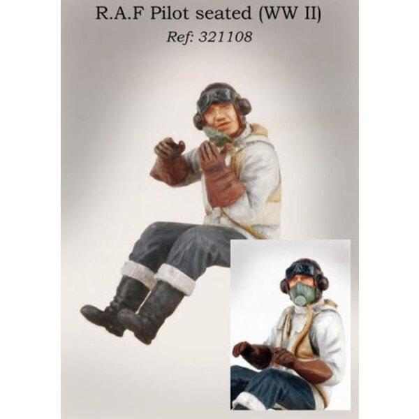 Pilote de la RAF assis dans l'avion (2ème GM)