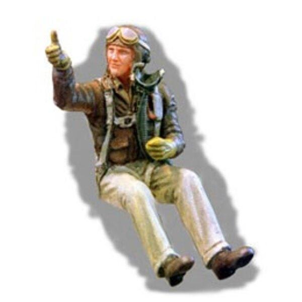 Pilote de chasse de L'USAF de la 2ème GM assis dans l'avion