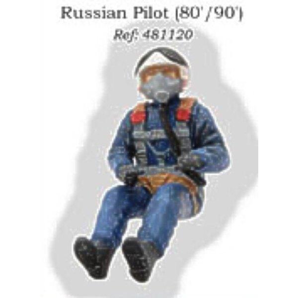 Pilote russe assis dans l'avion années 1980/1990