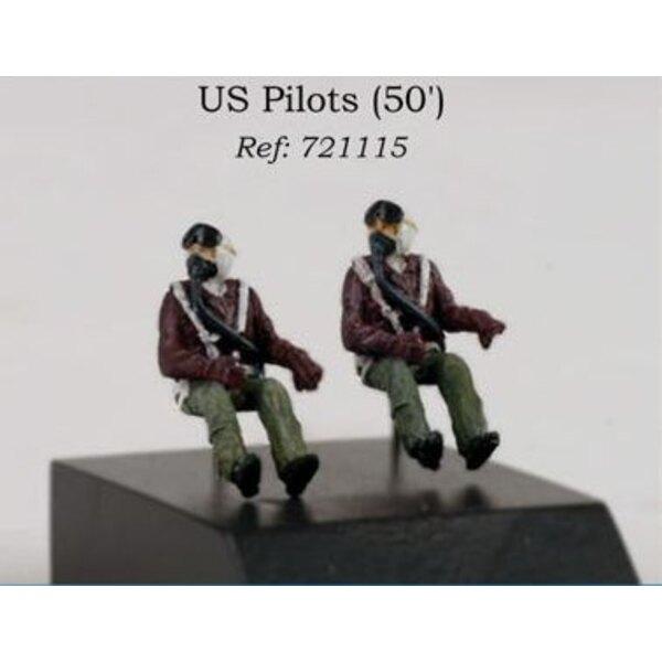 2 Pilotes US des années 1950 assis dans l'avion