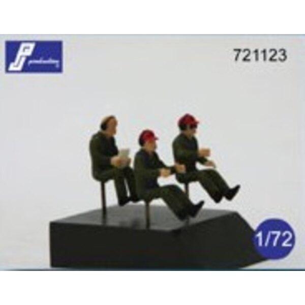 Pilotes d'avions de transport assis dans l'avion (jeu de 3 figurines - Pour être utilisés dans la plupart des avions de transpor